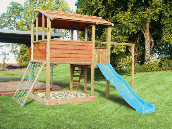 A LogLink Cubby House With Scramble Net, Slide And Swing Beam